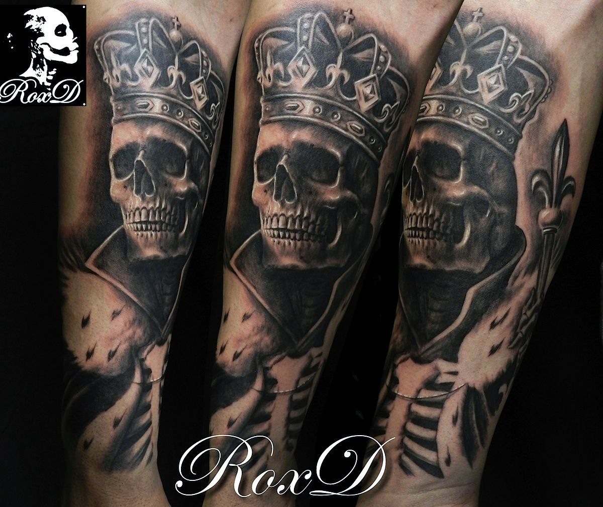 King Skeleton Skull Tattoo