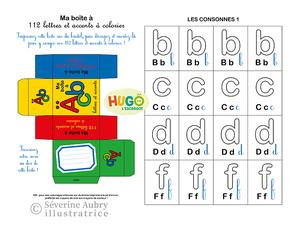 """Conception et réalisation : d'un jeu de 7 familles des fleurs à imprimer et découper - Hugo l'escargot - 2013  /  d'un cahier d'activités sur le français """"boîte à mots"""" et """"boîte à lettres"""" - Hugo l'escargot - 2016"""