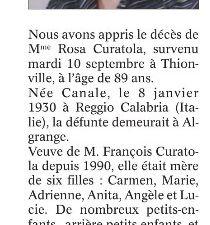 Décès en 2019 à Algrange ou d'anciens algrangeois(es)