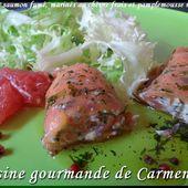 Roulés de saumon marinés au chèvre et pamplemousses roses - Cuisine gourmande de Carmencita