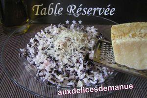 Duo de riz noir et blanc au jambon crème et parmesan