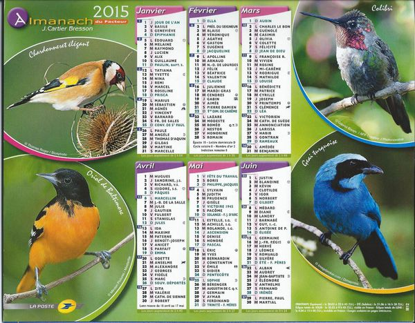 calendrier des postes 2015