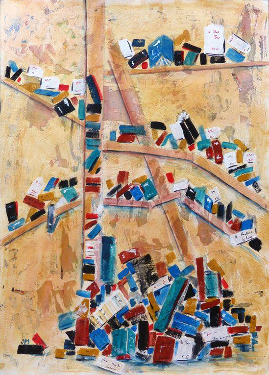 Bibliothèque - Acrylique sur mortier - Jeanine Mandille