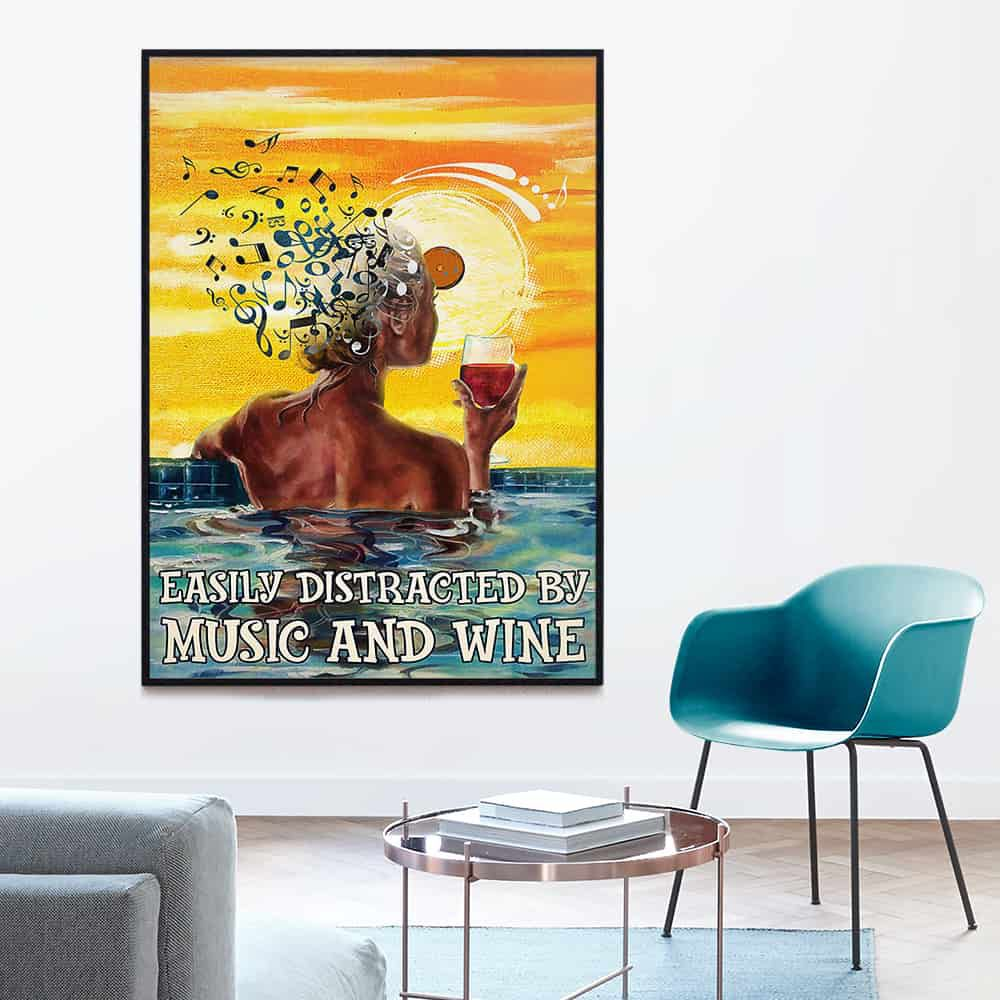 Girl Swim Easily Distracted By Music And Wine poster, canvas
