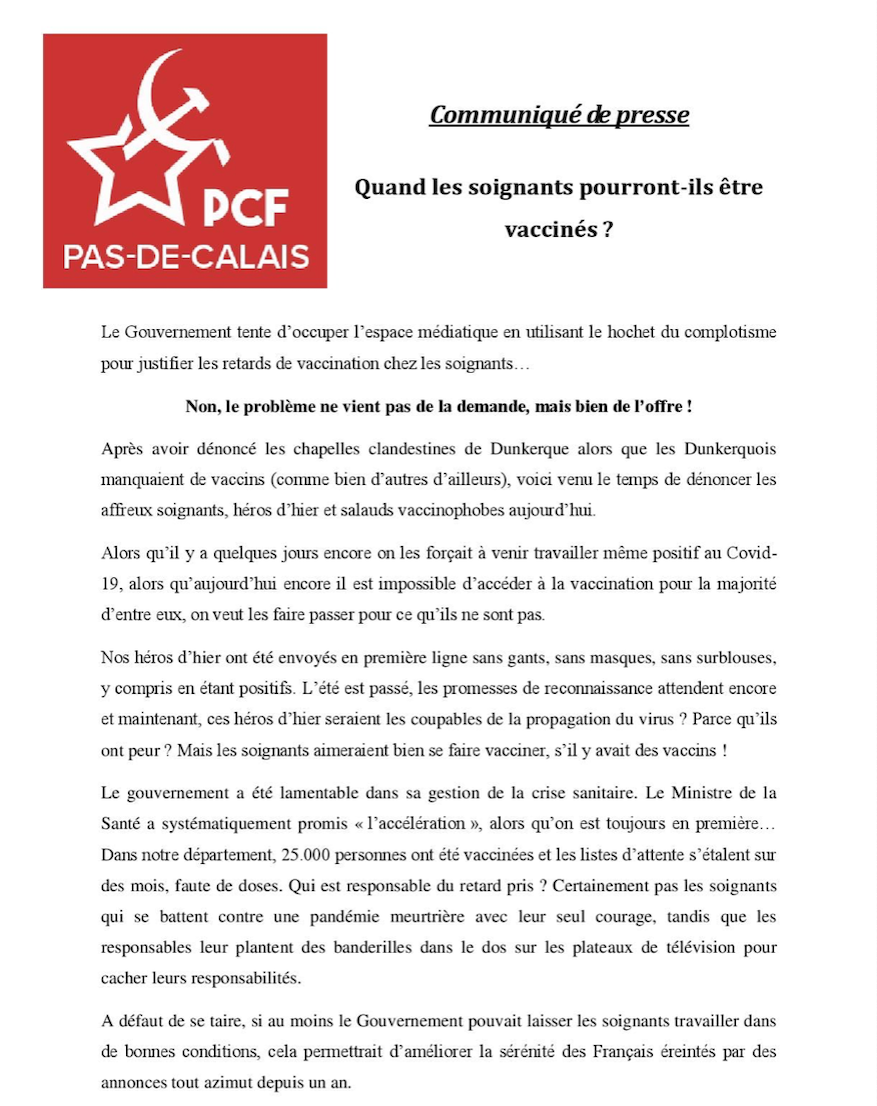 Vaccin: Communiqué de presse du PCF du Pas de Calais