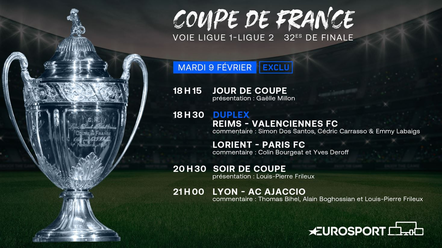 Lorient / Paris FC, Reims / Valenciennes et Lyon / AC Ajaccio ce mardi en Coupe de France