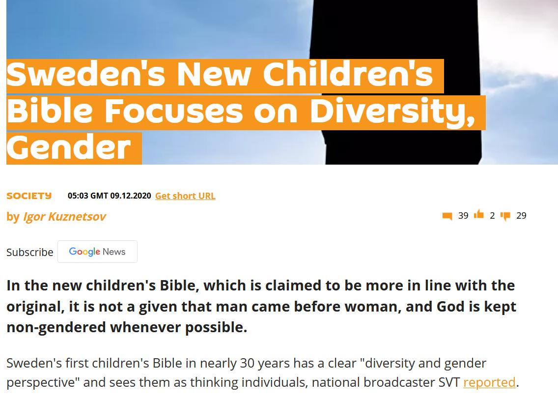 Suède : Une Bible « progressiste » pour enfants remet en question L'ordre de la création d'Adam avant Eve