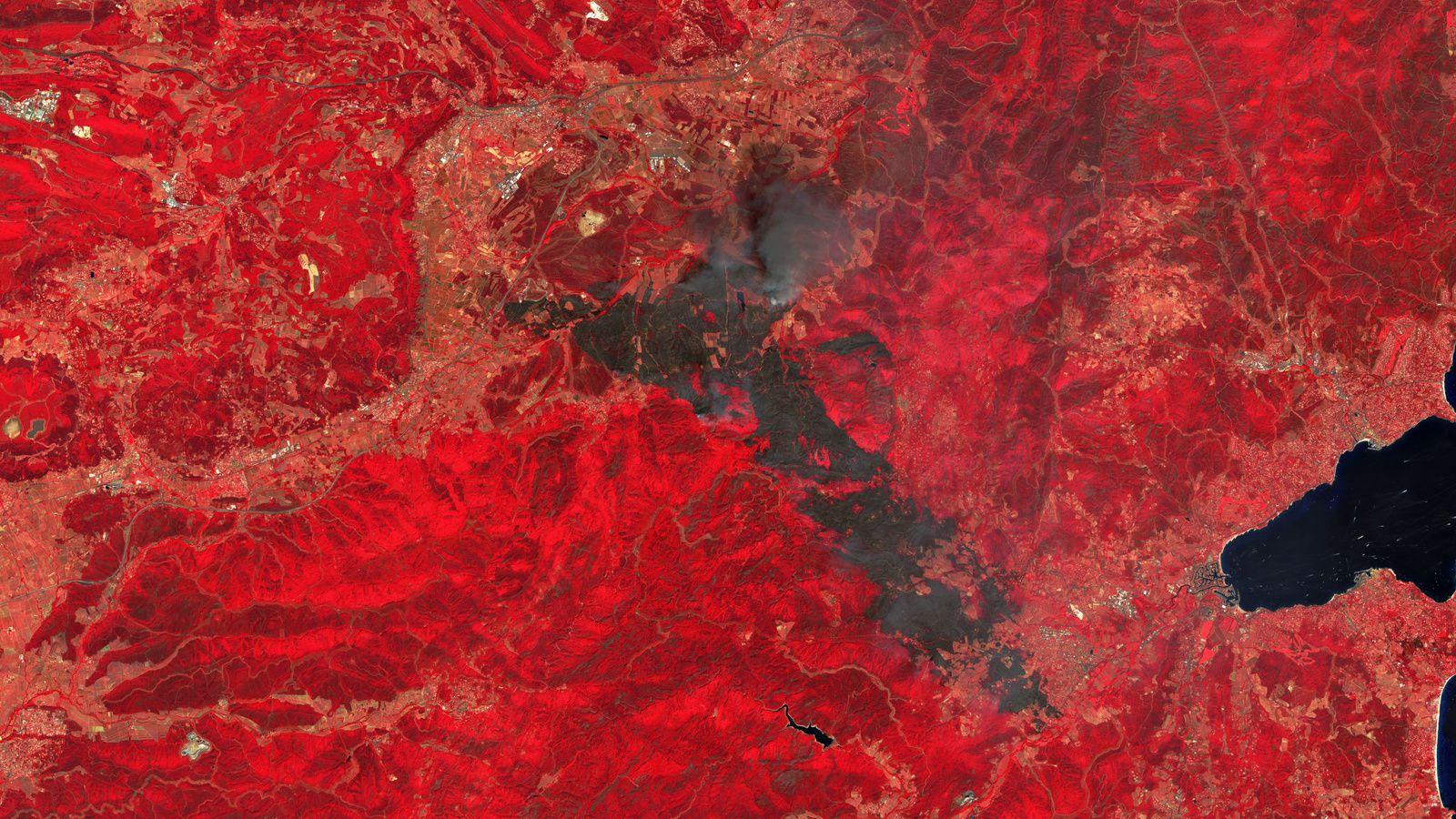 Var - Massif des Maures - Incendie - Août 2021 - Sentinel-2 - Satellite - Copernicus - Wild fires - Emergency response - Proche infrarouge