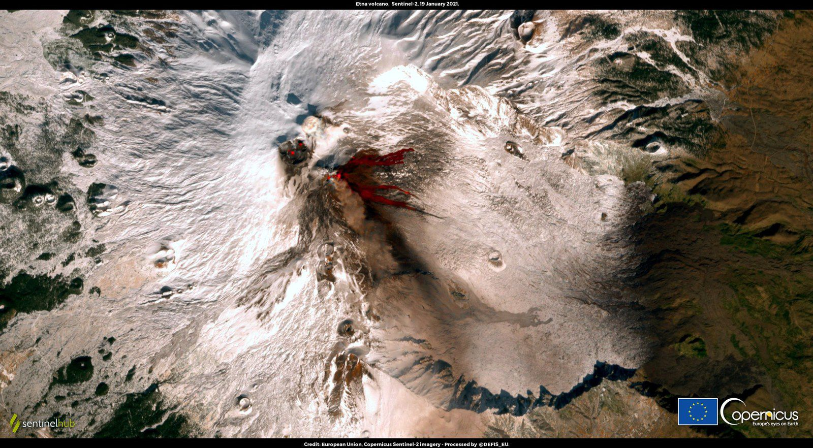 Etna - 01.19.2021 - contrast between snow cover and lava - Sentinel -2 / CLMS High-Resolution Snow and Ice Monitoring image - one click to enlarge