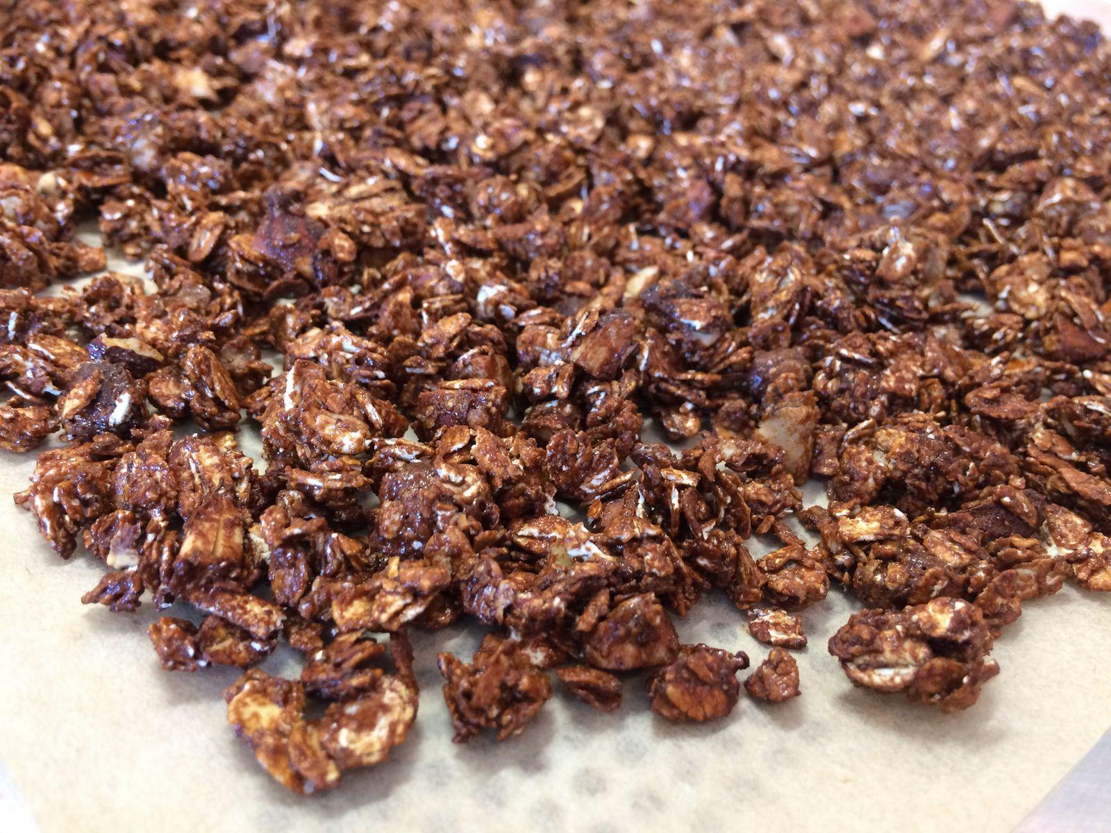 On éteint le four quand tout est bien doré, les flocons doivent être croustillants. S'ils ne sont pas tout à fait croustillants car contenant encore un peu d'humidité, on peut poursuivre la cuisson 5 mn et/ou les laisser dans le four éteint jusqu'à refroidissement. Les fruits secs ont un bon goût torréfié, ce granola est délicieux juste à la sortie du four !