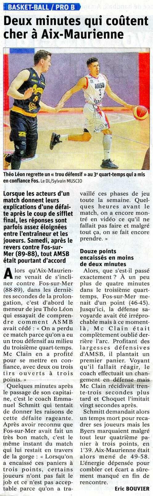 Basket AIX MAURIENNE - FOS SUR MER article du DL après match 26042021