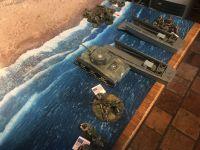 Tour n°1, l'américain se concentre sur son flanc droit et se prépare à débarquer