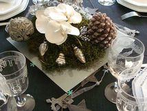 Centre de table et déco de Noël orchidée et bougie