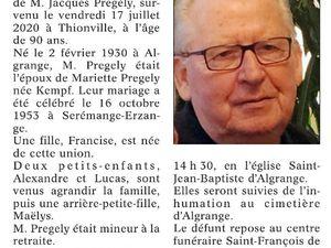 Décès en 2020 à Algrange ou d'anciens algrangeois(es)