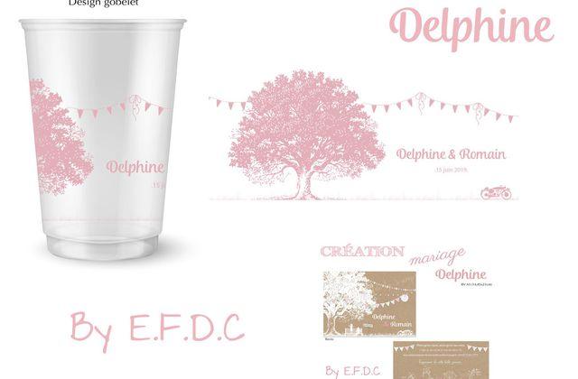 Le design du gobelet réutilisable de Delphine & Romain assorti au faire part de mariage
