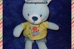 Doudou lapin Pommette, bleu blanc, velours, 25 cm, www.doudoupeluche.fr