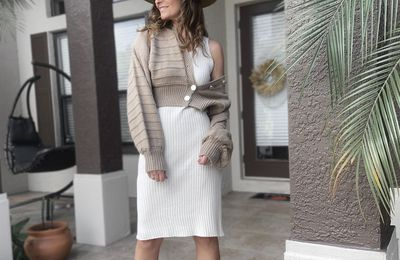 A Cardigan and Sweater Dress for Thanksgiving