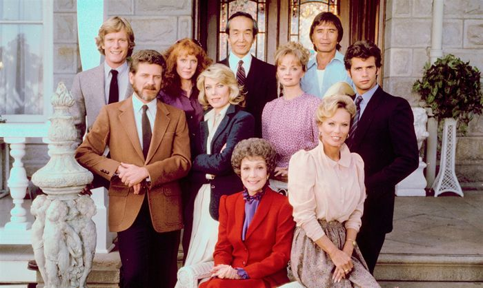 """Abby Dalton, lower right, with the cast from the premiere season of """"Falcon Crest"""" in 1982.CBS Photo Archive / Getty Images"""