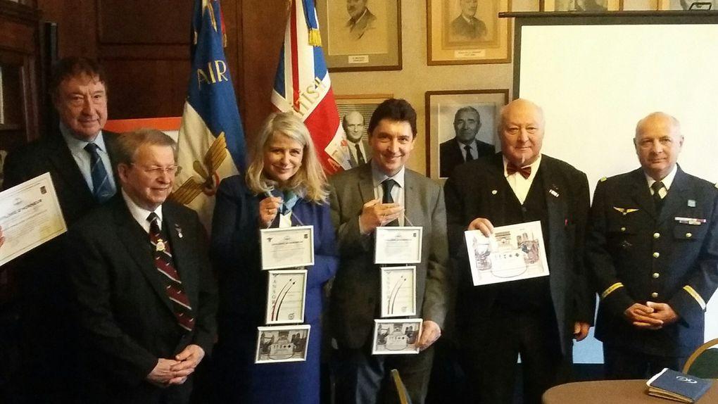 Les présidents de l'AAAGL, de l'ANFB et de l'ANSORAA-Hérault avec la sénatrice Joëlle Garriaud-Maylam et le sénateur Olivier Cadic.