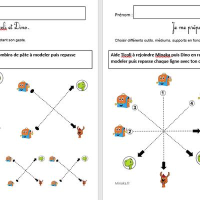 Graphisme avec Minaka, Ticoli et Dino : ligne oblique (croix et étoiles)