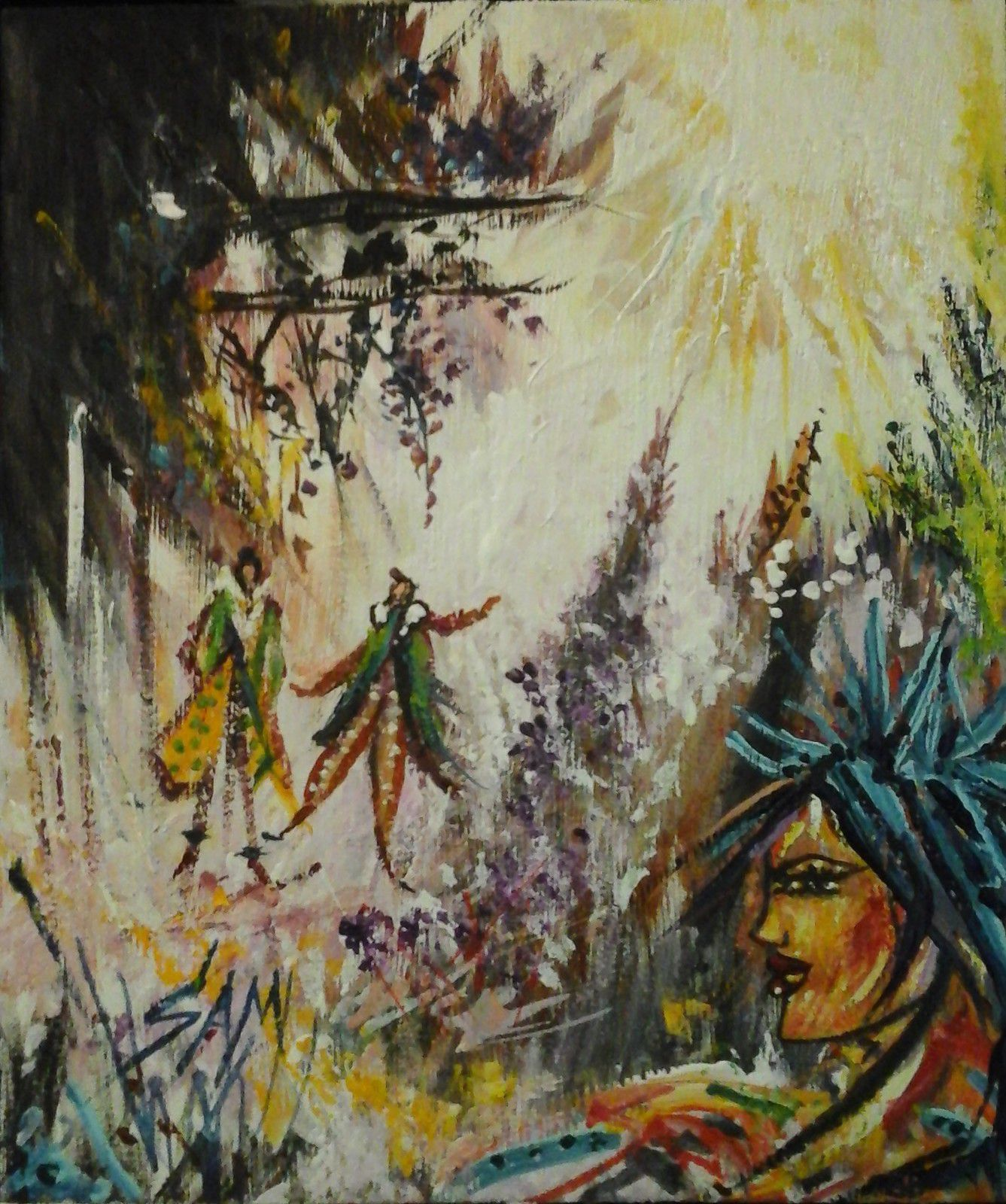 """""""  LES GENIES DES SAPINS  """"  Peinture gouache sur bois haut 19 cm largeur 16 cm."""