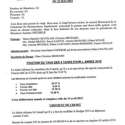Compte rendu de la réunion du conseil municipal du 22 mai 2015