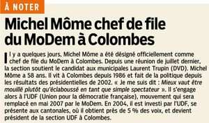 Michel Môme chef de file du MoDem à Colombes