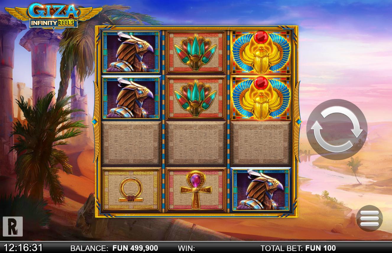 machine à sous en ligne Giza Infinity Reels grille de jeu