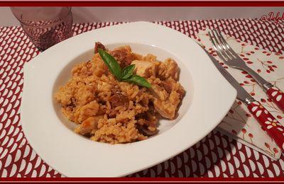 Escalope de dinde, chorizo et riz à la crème