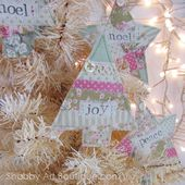 Faux Patchwork Christmas Ornies - Shabby Art Boutique