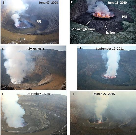 Nyiragongo - evolution of the lava lake between 2009 and 2015 - Doc. AAAScience