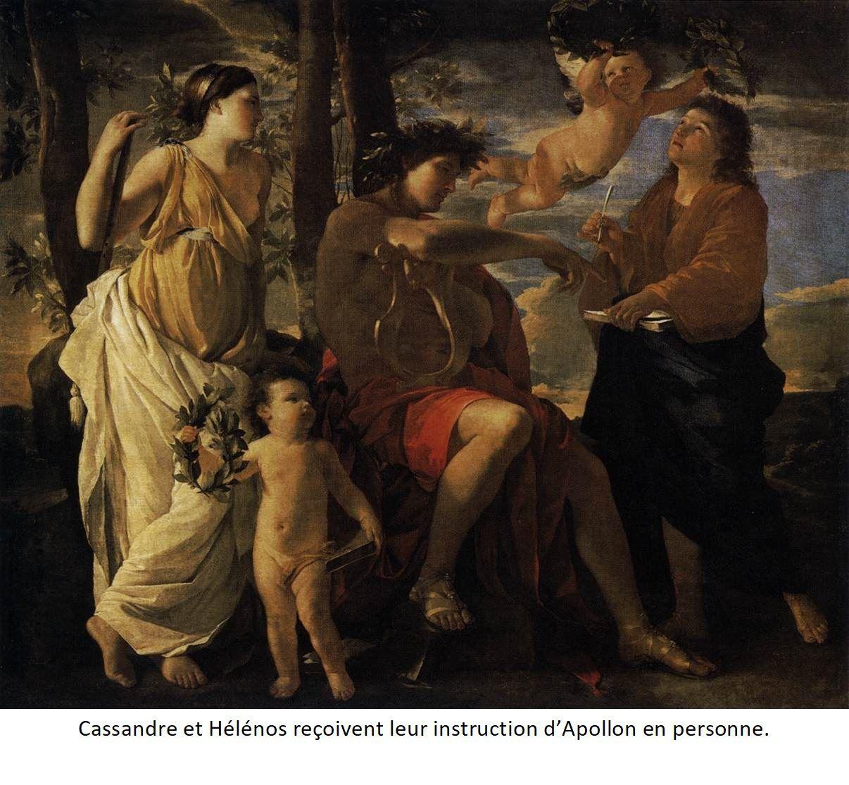 Cassandre et Hélénos reçoivent leur instruction d'Appolon en personne.
