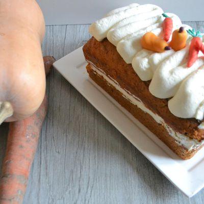 Butternut cake aux carottes confites au gingembre et noix