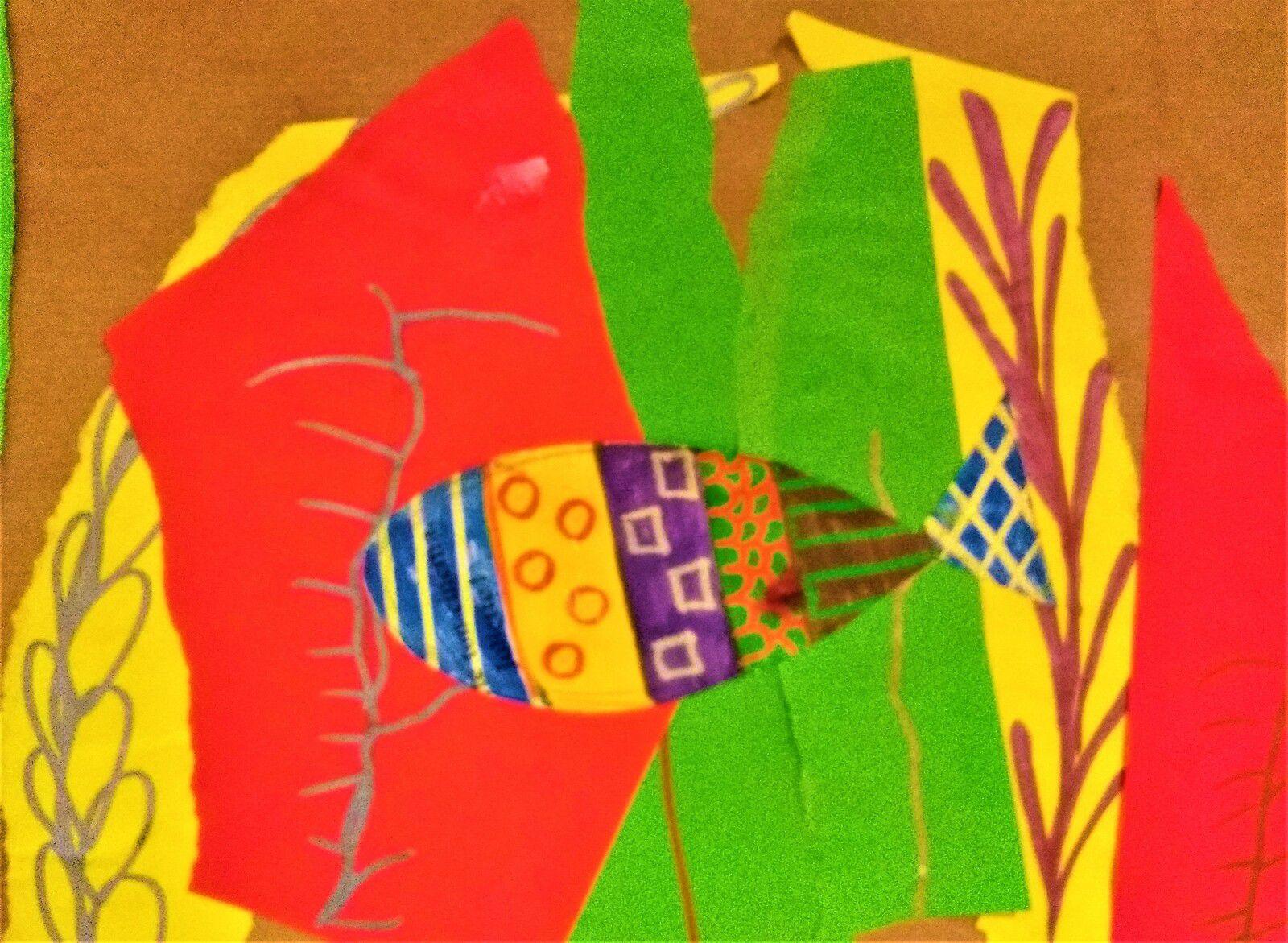 Atelier autonomie ~ 1. Fresque collaborative 2. Petit poisson coloré aux feutres magiques