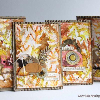 Cartes d'automne aux taches d'or_Fond Distress