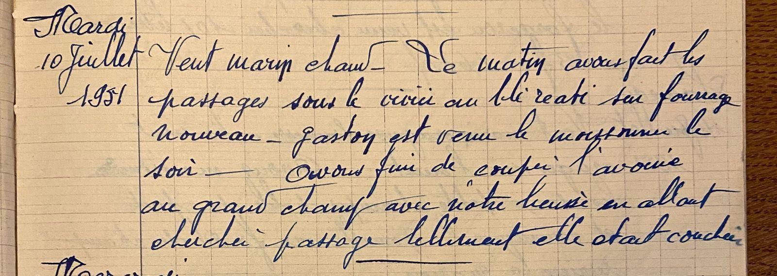 Mardi 10 juillet 1951 - les passages sous le vivier