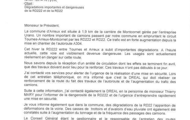 Courrier Conseil Général Route Départementale Tournes-Arreux
