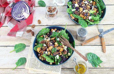 Salade d'Hiver Patates Douces Rôties, Chou Rouge et Bleu d'Auvergne