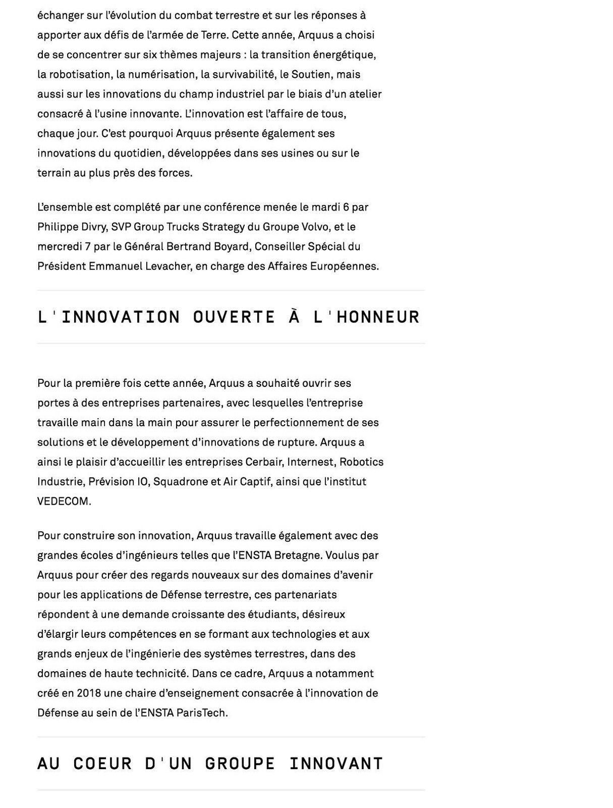 6 et 7 juillet 2021 : Arquus a présenté ses innovations lors des Technodays 2021