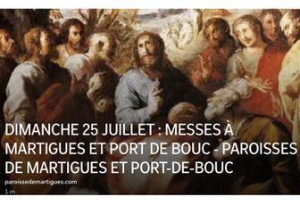 DIMANCHE 25 JUILLET : MESSES À MARTIGUES ET PORT DE BOUC