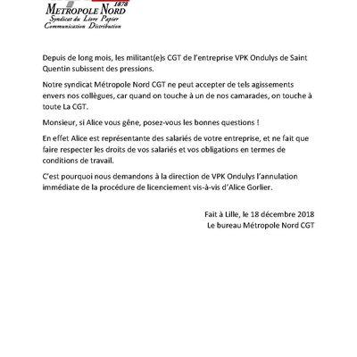 VPK Ondulys: Non au licenciement d'Alice Gorlier