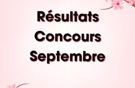 RESULTATS CONCOURS SEPTEMBRE 2020