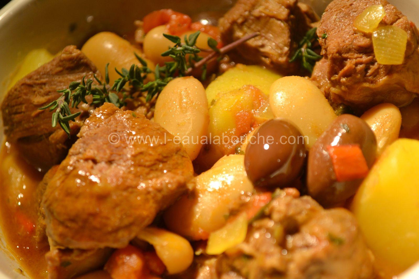 Ragoût d'Agneau Haricots de Soisson Pommes de terre et Olives de Kalamata
