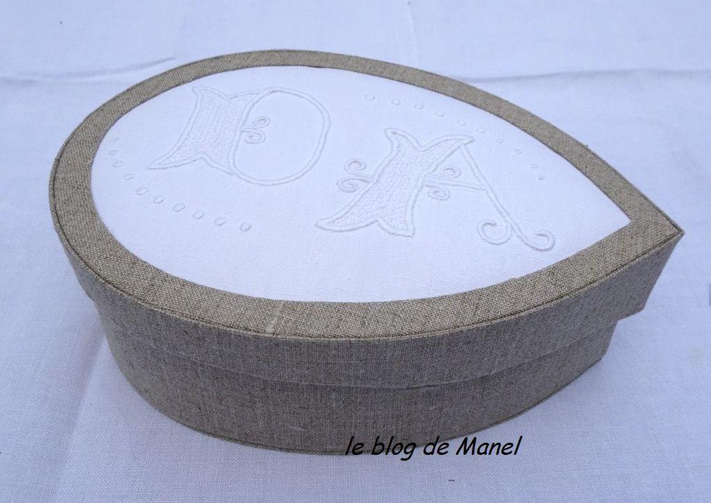 LES CARTONNAGES DE MANEL/ BOITE EN LARME ,LINGE ANCIEN BRODE
