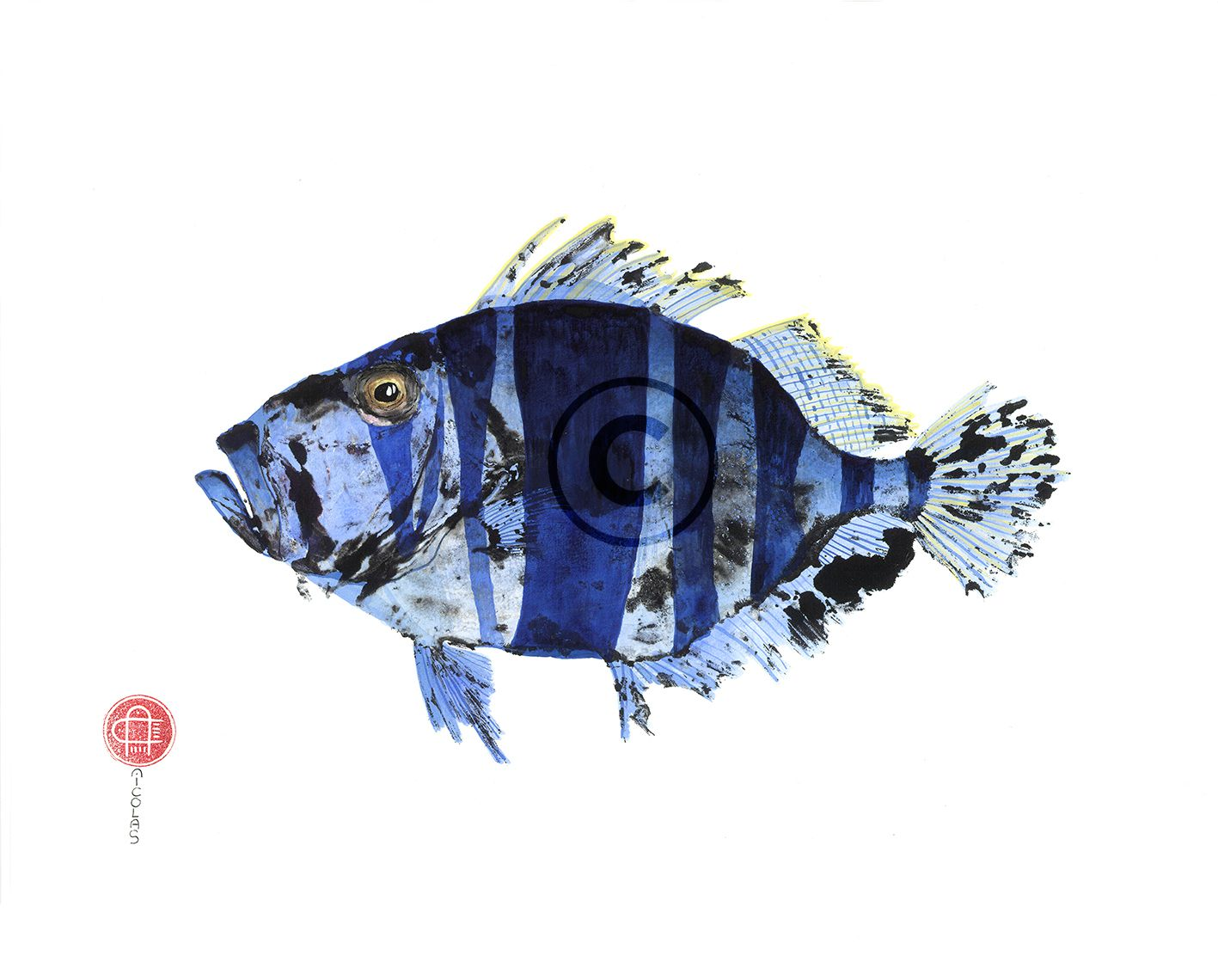 St Pierre/Hamlet indigo - 50x40 : 90€