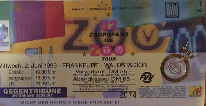 U2 -ZOO TV Tour -02/06/1993 -Francfort  -Allemagne -Waldstadion
