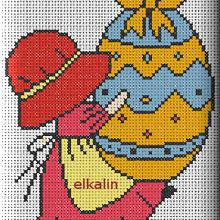 Sunbonnet et les œufs de Pâques 5: broderie main et machine