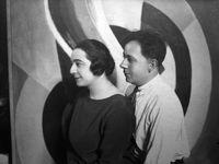 Sonia et Robert ;1908 - Broderie de laine sur canevas 83,5x60,5 ; 1911 - Couverture de berceau 111x82cm