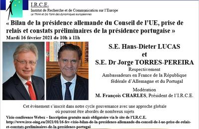 16 FEV VISIO «Bilan de la présidence allemande du Conseil de l'UE, prise de relais et constats préliminaires de la présidence portugaise »