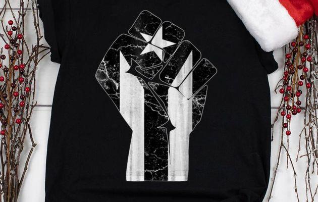 Nice The Raised Fist Puerto Rico Resiste Black Flag shirt